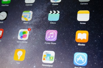 Bangkok Thailand - June 17 2015 : A close-up photo of Apple iPad mini 2 start screen focused on iTunes Store. iTunes Store is a digital distribution service about music for mobile apps on iOS platform developed by Apple Inc.