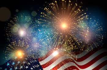 United States flag. Fireworks background for USA Independence Day. Fourth of July celebrate