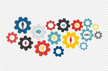 Business mechanism concept web technology and social network theme. Abstract background with connected gears and icons for strategy, service, analytics, research, seo, digital marketing, communicate concepts. Vector infographic illustration
