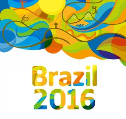 Rio 2016 abstract colorful background. Sport Brazil background. Summer color of Olympic games 2016 wallpaper. Vector template for backgrounds cards web and journals. Athletes icon.