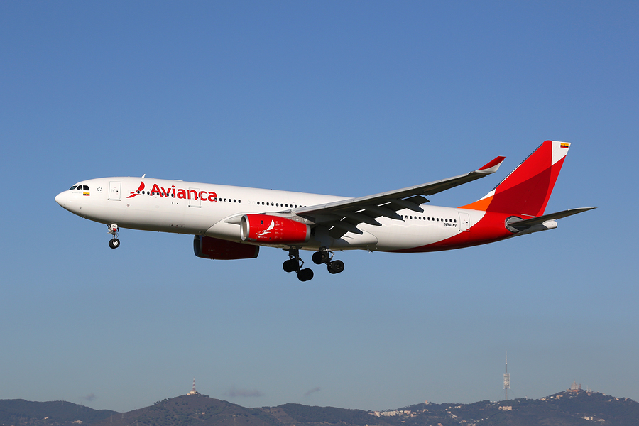 BARCELONA SPAIN - DECEMBER 11: An Avianca Airbus A330-200 approaching on December 11 2014 in Barcelona. Avianca is the flag carrier airline of Colombia with its headquarters in Bogota.
