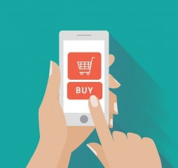 Hand touching smart phone with buy button on the screen. E-commerce flat design concept. Using mobile smart phone for online purchasing. Eps 10 vector