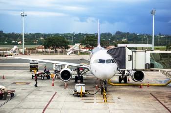 Brasilia, Brazil - November 20, 2015: TAM Airlines Airbus 320 parked at airport in Brasilia, capital of Brazil. TAM is the Brazilian brand of Latam Airlines and the largest Brazilian airline.