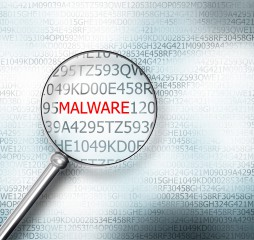 reading the word malware on digital computer screen with a magnifying glass internet security