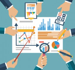 Finance report concept flat style vector. Financial management profit strategy investments planning financial audit financial research data analysis marketing research consultant analytics