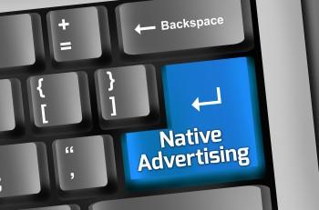 Image Photo Keyboard Illustration with Native Advertising wording