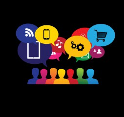icons of consumers or users online in social media shopping - vector graphic. This graphic also represents social media communication internet shopping web chat social networking & interaction