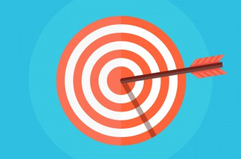 Target flat icon. Target vector. Concept target market audience group consumer. Bullseye icon. Goal icon. Isolated target. Target logo. Target symbol. Illustration of a target with an arrow.