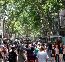 Barcelona Catalunya- june 12th 2015: street view with people in Las Ramblas