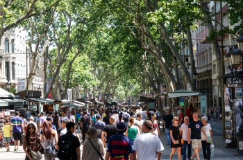Barcelona Catalunya- june 12th 2015: street view with people in Las Ramblas