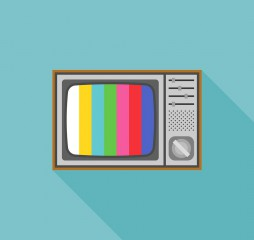 vintage television illustration and TV test pattern screen, flat design icon