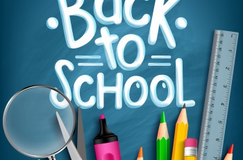 Back to School Title Words with Realistic School Items