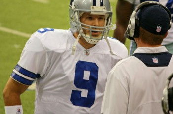 DALLAS - DEC 14: Taken in Texas Stadium on Sunday December 14 2008. Dallas Cowboys Quarterback Tony Romo on the sideline during a game with the NY Giants speaking with Jason Garrett.