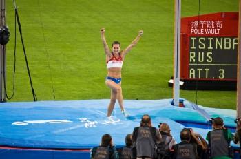 Beijing Aug 18: Russia's Yelena Isinbayeva breaks the world record to win the women's pole vault at Beijing Summer Olympics. Beijing China August 18 2008