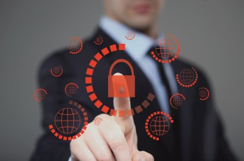business, technology, internet and virtual reality concept - businessman pressing cyber security button on virtual screens