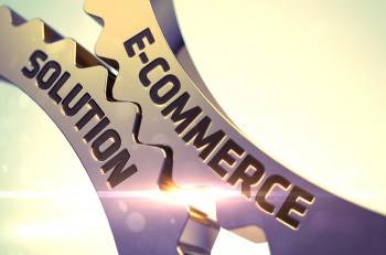 E-Commerce Solution on Mechanism of Golden Gears. E-Commerce Solution Golden Cog Gears. Golden Gears with E-Commerce Solution Concept. E-Commerce Solution - Concept. 3D Render.