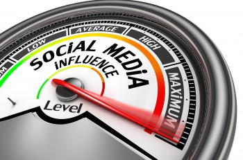 Social media influence level to maximum modern conceptual meter isolated on white background