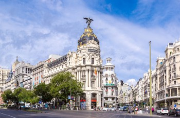 MADRID SPAIN - JULY 11: Metropolis hotel in Madrid in a beautiful summer day on July 11 2014 in Madrid Spain