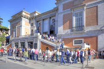 Spain Madrid - May 02.2014: Entrance to the National Museum of the Prado one of the largest art museums in Europe