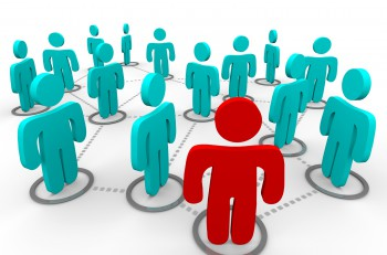 A red figure stands at the forefront of a group of blue figures all interconnected in a social network.