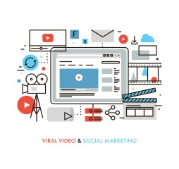 Thin line flat design of viral video production digital marketing campaign internet medium mass communication social media sharing. Modern vector illustration concept isolated on white background.