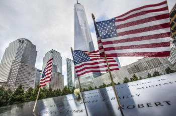 NEW YORK USA - Sep 27 2015: Memorial to victims of Sept. 11 2001. Memorial at World Trade Center Ground Zero. The memorial was dedicated on the 10th anniversary of the Sept. 11 2001 attacks.