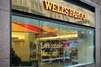 NEW YORK USA - JUNE 10 2013: Wells Fargo Bank branch in New York. Wells Fargo was the 23rd largest company in the United States in 2011 (by revenues).