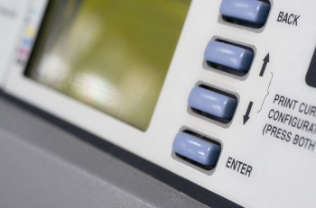 Plotter close up. Focus on enter button.