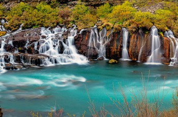 Panorama of the Hraunfossar falls in Iceland