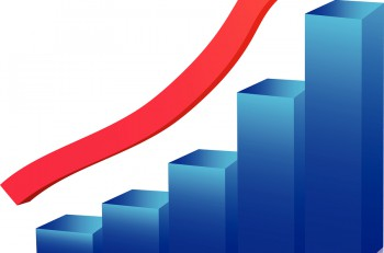 Business growth graph up arrow blue and red vector
