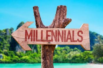 Millennials arrow with beach background