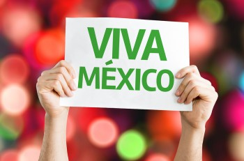 Viva Mexico card with colorful background with defocused lights