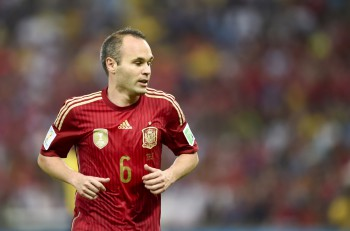 RIO DE JANEIRO BRAZIL - June 18 2014: Andres INIESTA of Spain during the FIFA 2014 World Cup. Spain is facing Chile in the Group B at Maracana Stadium