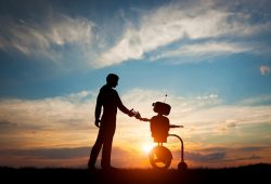 inteligencia artificial-Man and robot meet and handshake. Concept of the future interact