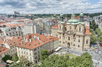 PRAGUE, CZECH REPUBLIC, JULY 6,2016: Aerial shot of The Church of St Nicholas and Old Town Square, a historic square in the Old Town quarter of Prague, the capital of the Czech Republic.