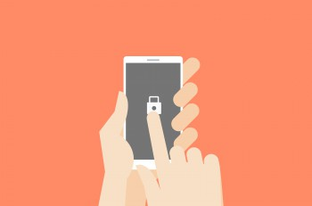 Hand holding smartphone with one finger over touchscreen. Flat vector safety conceptual illustration.