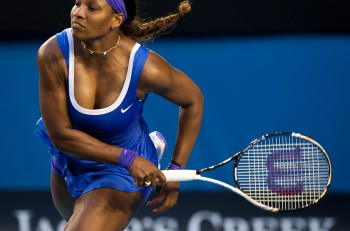 MELBOURNE - JANUARY 21: Serena Williams in her third round win o