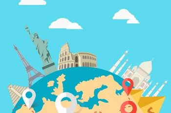 World adventure travel. Relaxation journey, leisure rest tourism, statue liberty, eiffel tower, colosseum, trip global tour. Travel, world, globe world map, around the world globe travel, world tou