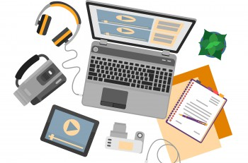 Top view of workplace with devices for video edit, tutorials and post production. Vector illustration.  Flat design mockup banner website for professional movie production, video edition.