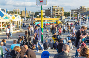 The Hague the Netherlands - September 18 2016: Pokmon GO hot spot at Kijkduin The Hague the Netherlands