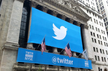 NEW YORK - NOVEMBER 7: The Twitter logo is shown in front of the NYSE on November 7, 2013 in New York. Twitter, ticker symbol: TWTR, went public today at $26 per share.