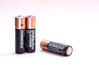 Nicosia Cyprus - August 21 2016: Group of new Duracel alkaline AA high power batteries on a white background