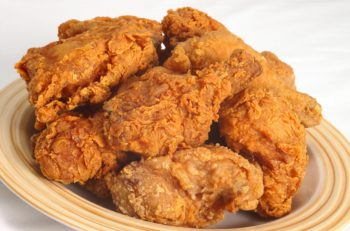 A plate of southen-style spicy fried chicken
