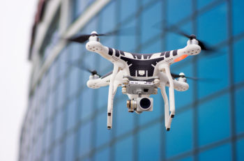 Hovering drone that takes pictures of city sights