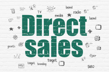 Marketing concept: Direct Sales on wall background