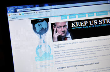 LONDON, UK - FEBRUARY 6, 0211: Close up of WikiLeaks home page with Julian Assange (illustrative editorial)