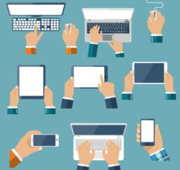 Hand hold devices electronics. Set computer devices in hand man. Laptop tablet smartphone mobile phone computer keyboard mouse. Vector flat design. Icon technology device in hand. Gadget hands.