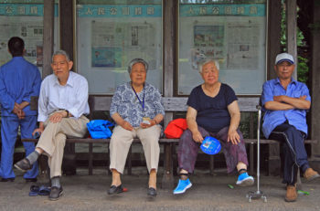 Shanghai, China - July 1, 2015: people are resting in park of Shanghai, China