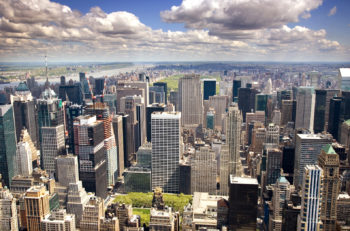 An aerial view of Upper Manhattan, New York