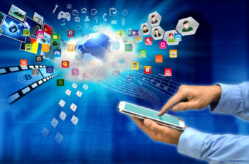 Conceptual image of a tablet user connect his activity with a cloud server via internet